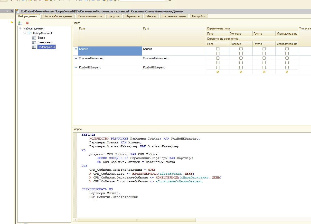 Источники данных в схеме компоновки данных